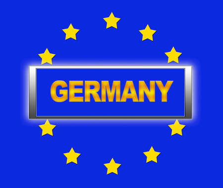 The word Germany and flag of Europe   photo