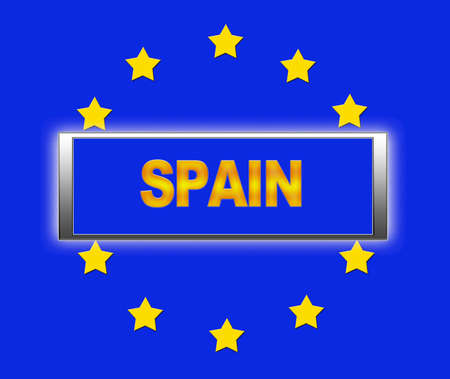 The word Spain and flag of Europe   photo