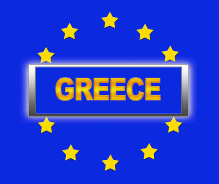 The word Greece and flag of Europe   photo