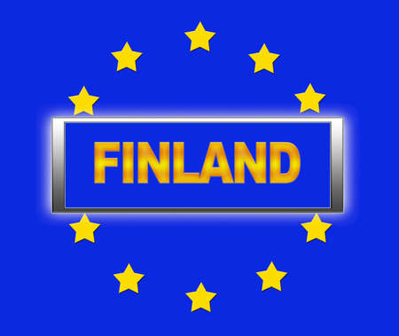 The word Finland and flag of Europe