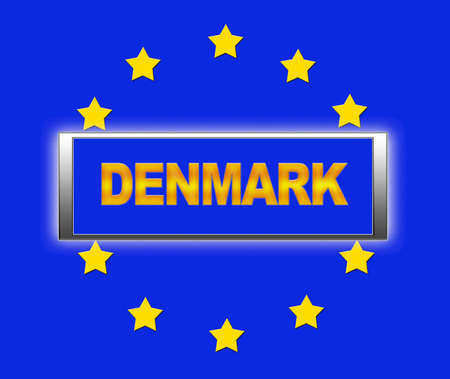 The word Denmark and flag of Europe Stock Photo - 14884355