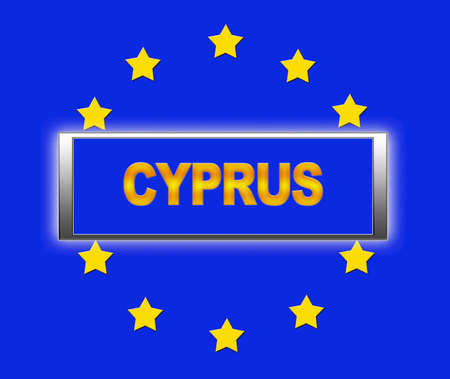unification: The word Cyprus and flag of Europe   Stock Photo