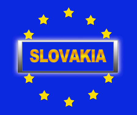The word Slovakia and flag of Europe   photo