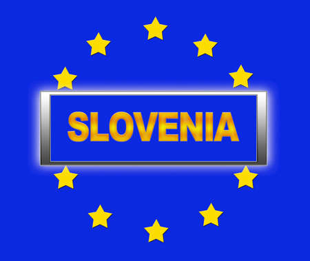 The word Slovenia and flag of Europe   photo