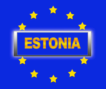 The word Estonia and flag of Europe   photo