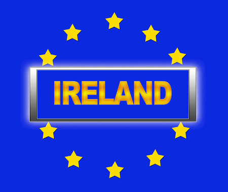 The word Ireland and flag of Europe   photo