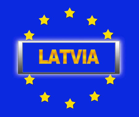 The word Latvia and flag of Europe   photo