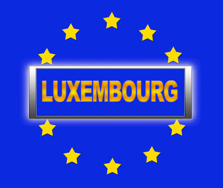 The word Luxembourg and flag of Europe   photo