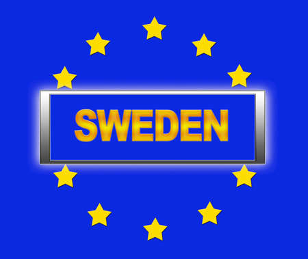 The word Sweden and flag of Europe . photo