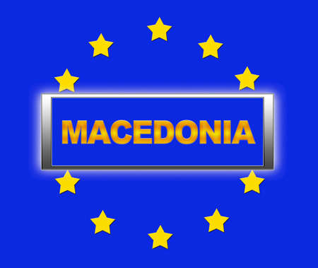 The word Macedonia and flag of Europe . photo