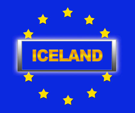 The word  Iceland and flag of Europe . photo