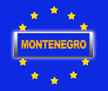 unification: The word  Montenegro and flag of Europe . Stock Photo