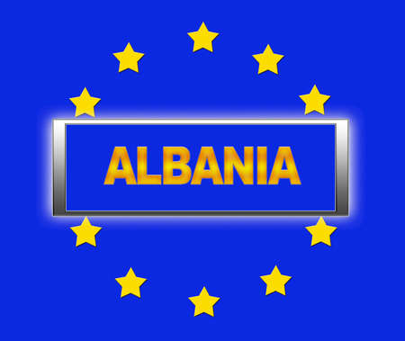 The word  Albania and flag of Europe . photo