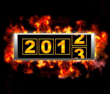 under fire: Ilustraci�n con un signo 2013 bajo el fuego. Foto de archivo