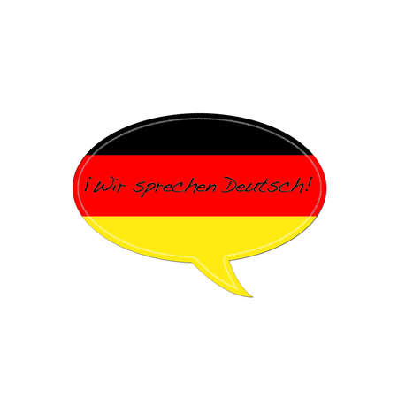 illustration with german flag and text speak german. illustration