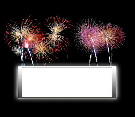 Illustration with a framework white background and fireworks illustration
