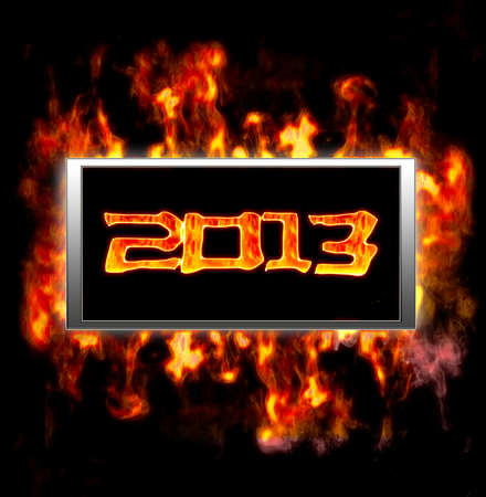 diabolical: Illuminated sign with of new year 2013  Stock Photo