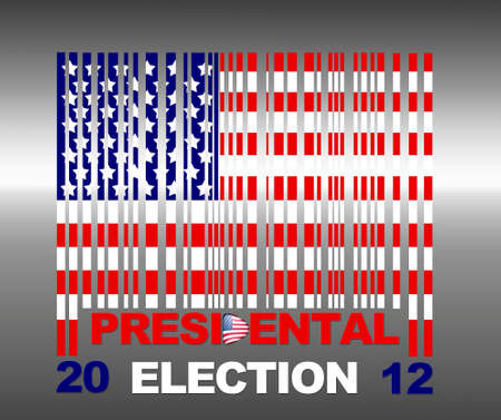 Illustration with flag barcode Usa and presidental election 2012  Stock Illustration - 15017769