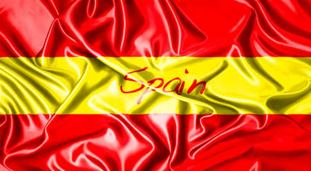 folds: illustration of spain flag with a folds  Stock Photo