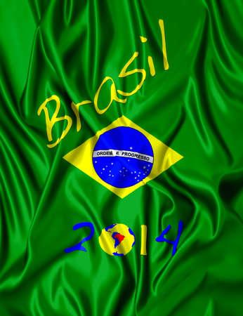 Fabric illustracion Brazilian flag and date of 2014  Stock Photo - 15017772