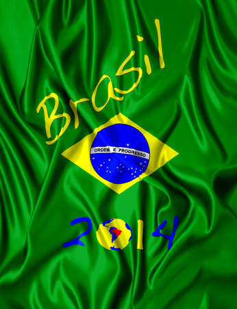 Fabric illustracion Brazilian flag and date of 2014  Redactioneel