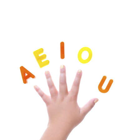 Isolated hand with letters a e i o and u