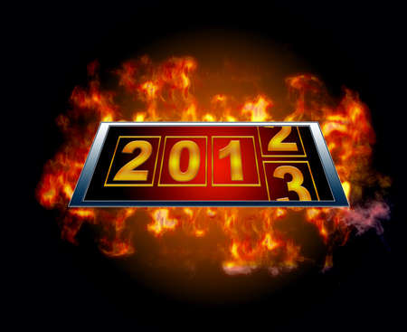Illustration with a 2013 sign with a flames Stock Illustration - 15238779
