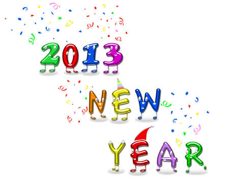Illustration with cartoons numbers and letters new year 2013 Stock Illustration - 15260628
