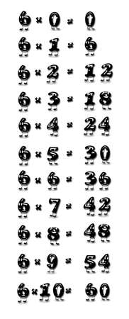 Illustration with the multiplication table of six  illustration