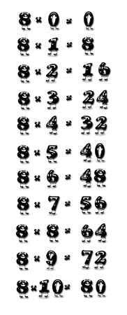 multiplicaci�n: Ilustraci�n con la tabla de multiplicar por ocho Foto de archivo