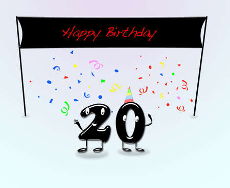 20th: Illustration for 20th birthday party with cartoon numbers  Stock Photo