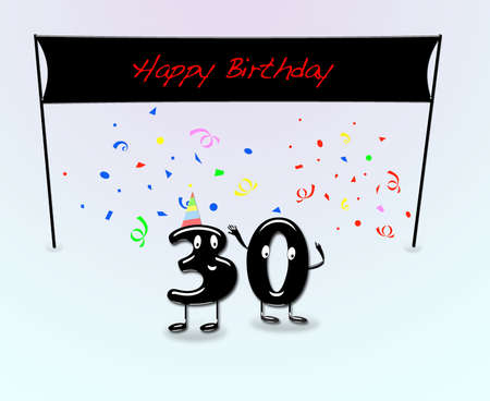 date of birth: Illustration for 30th birthday party with cartoon numbers