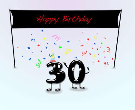 Illustrazione per la festa di 30 � compleanno con i numeri del fumetto Archivio Fotografico