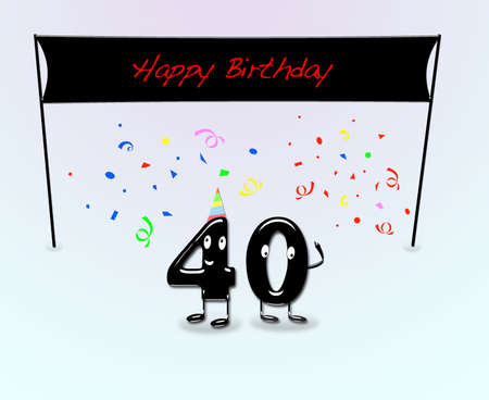 40: Illustration for 40th birthday party with cartoon numbers