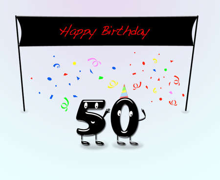 date of birth: Illustration for 50th birthday party with cartoon numbers