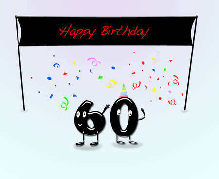 60th: Illustration for 60th birthday party with cartoon numbers  Stock Photo