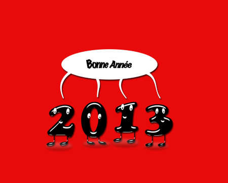 Illustration with 2013 Happy new year with a red background  illustration