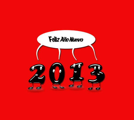 Illustration with 2013 Happy new year with a red background  Stock Illustration - 15260619