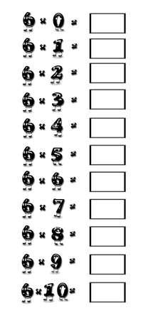 multiplicaci�n: Ilustraci�n con la tabla de multiplicar del 6