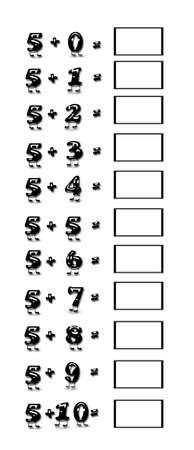 addition: Illustration of addition table 5