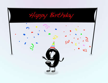 9th: Illustration for 9th birthday party with cartoon numbers