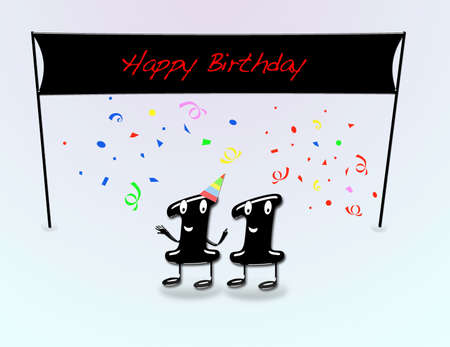 11th: Illustration for 11th birthday party with cartoon numbers