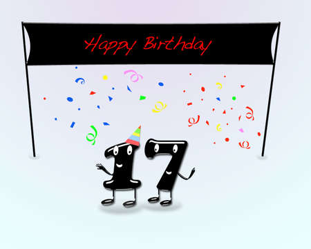 17th: Illustration for 17th birthday party with cartoon numbers
