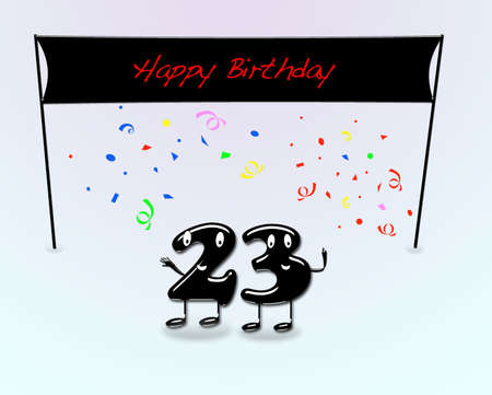 third birthday: Illustration for 23th birthday party with cartoon numbers