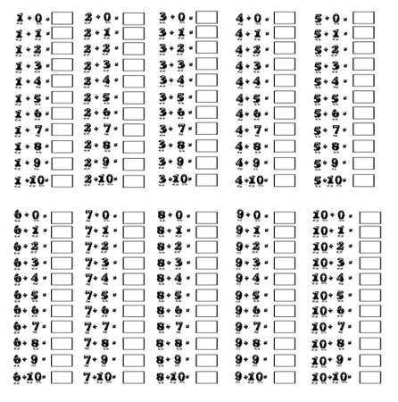 Illustration of addition table on a white background Stock Illustration - 15390565