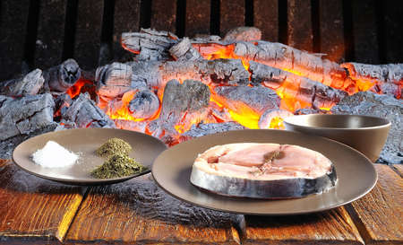 cantabrian: Cantabrian white tuna on table a barbecue  Stock Photo