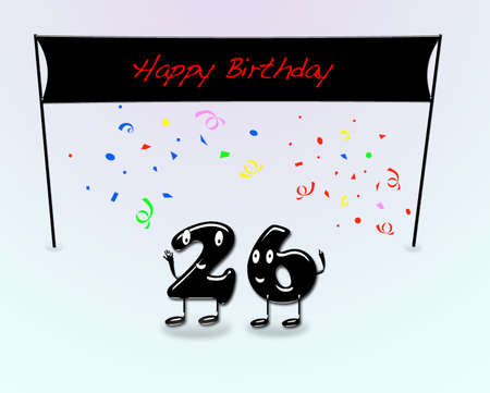 26th: Illustration for 26th birthday party with cartoon numbers