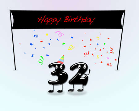 second birthday: Illustration for 32th birthday party with cartoon numbers