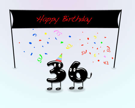 sixth birthday: Illustration for 36th birthday party with cartoon numbers  Stock Photo