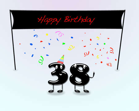 38: Illustration for 38th birthday party with cartoon numbers